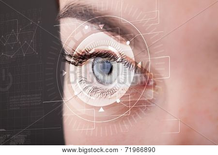 Modern cyber girl with technolgy eye looking