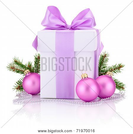 White Boxs Tied Pink Ribbon Bow, Pine Tree Branch And Christmas Balls Isolated On White Background