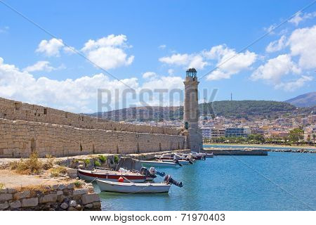 Fishing Boats In Old Port In Rethymno, Crete Island