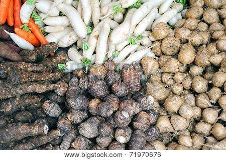 Daikon white radish, beetroots and yam sweet potatoes vegetables on Asian market