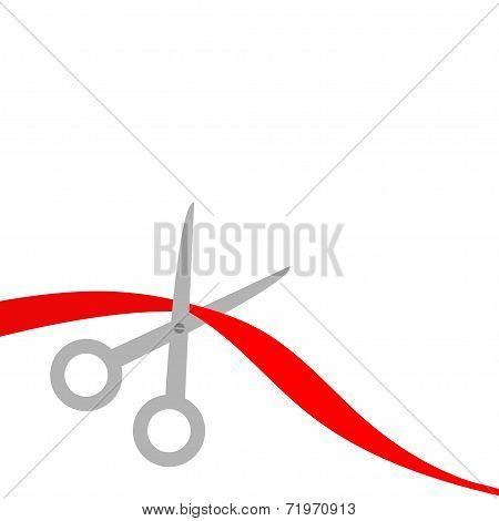 Scissors Cut Red Ribbon On The Left. Flat Design Style.
