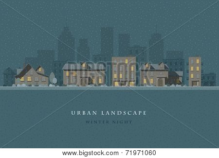 Vector flat illustration of winter night city landscape. Elements are layered separately in vector file. Easy editable.