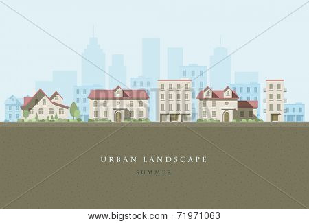 Vector flat illustration of city landscape. Elements are layered separately in vector file. Easy editable.
