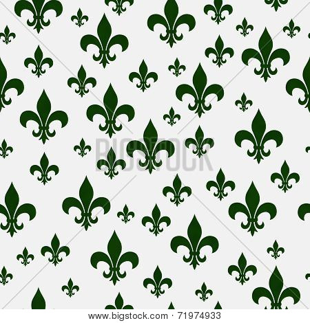 Green Fleur-de-lis Pattern Repeat Background