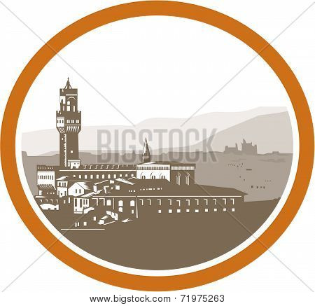 Tower Of Palazzo Vecchio Florence Woodcut