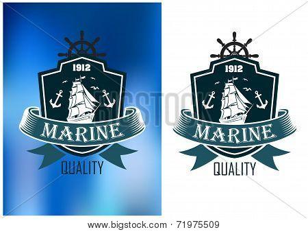 Retro marine heraldic banner