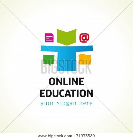 Online Education logo document on line chat folder