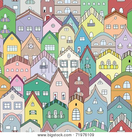 Town full of houses seamless pattern.