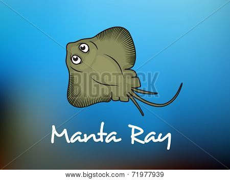 Funny cartoon stingray or manta