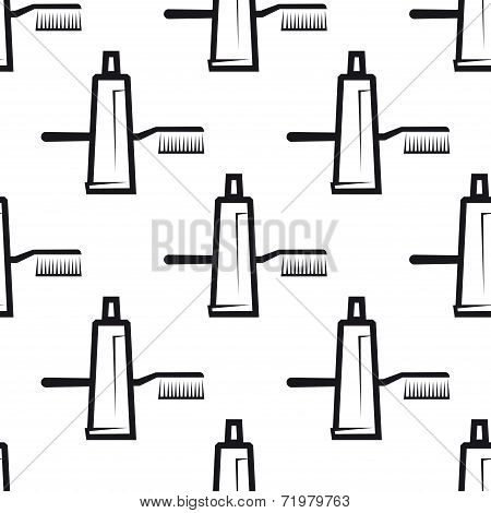 Seamless pattern of toothpaste and brush