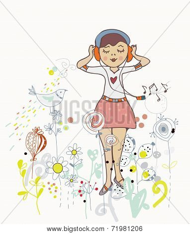 Poster of girl listening to the music with flowers birds