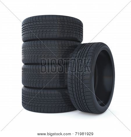 High Resolution 3D Render Of New Tyres Isolated On White