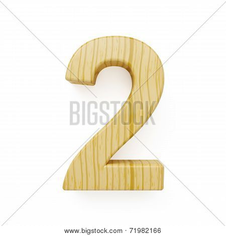 Wood Digit Two Symbol - 2