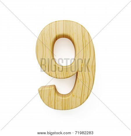 Wood Digit Nine Symbol - 9