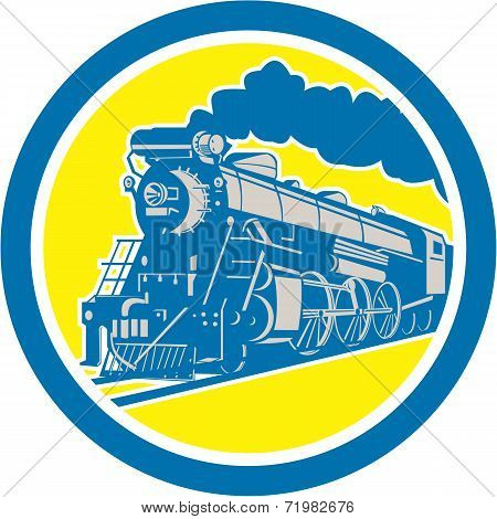 Steam Train Locomotive Circle Retro