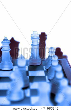 Chess Pieces In Blue