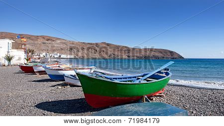 Boats on the beach of Pozo Negro on Fuerteventura