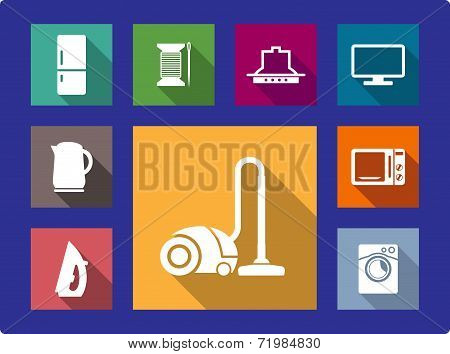 Household equipment flat icons set