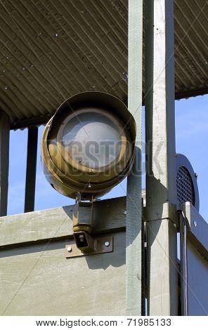 Projector on war watchtower