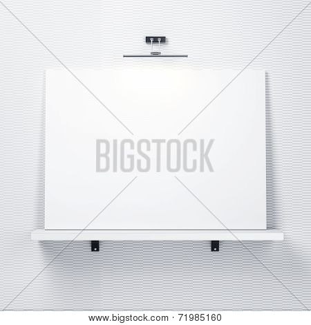 White Decorative Wall With Shelf And White Poster