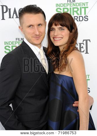 LOS ANGELES - MAR 01:  Lake Bell & Scott Campbell arrives to the Film Independent Spirit Awards 2014  on March 01, 2014 in Santa Monica, CA.