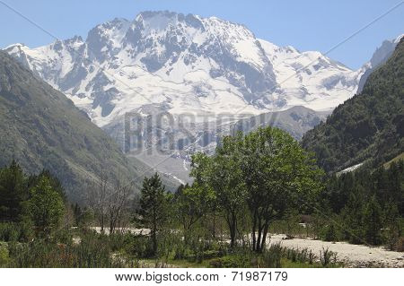 The View Of The Valley And The Top Of The Ulla-tau, The Caucasus, Europe, The Beauty Of The World