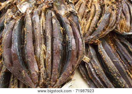 Dried fish on display on a market
