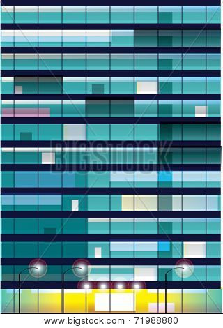 Exterior wall  with  windows. Office building at night. Vector illustration.
