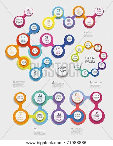 Modern infographics set circle based. Time Lines and  chart design. Vector