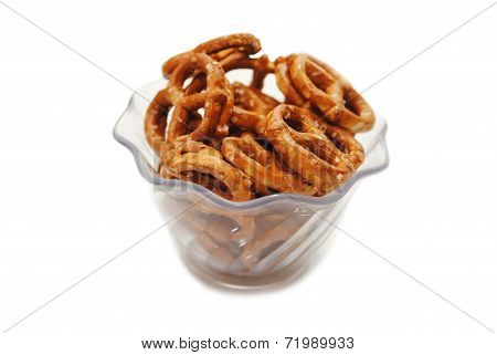Pretzels In A Fancy Glass Bowl Over White