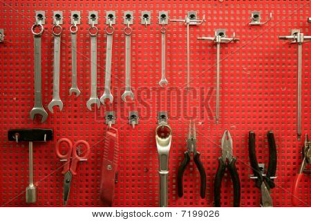 Handtools red metal board