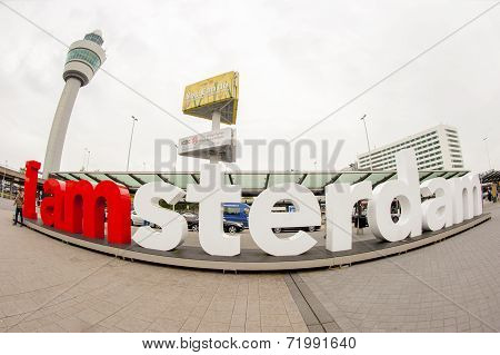 Wide Angle View Of The I Am Amsterdam Sign
