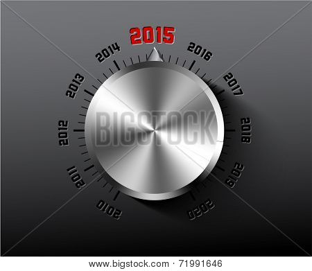 Vector 2015 New Year card with chrome knob on dark background