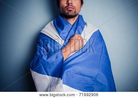 Scottish Nationalist Wearing The Saltire