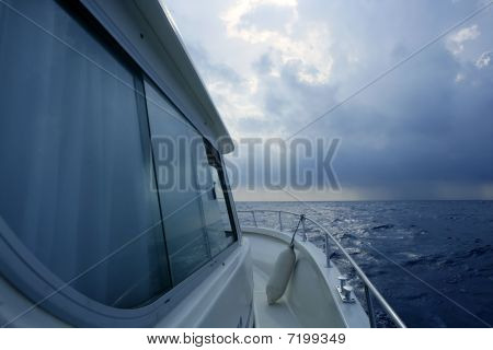 Boat Starboard Side On A Cloudy Storm