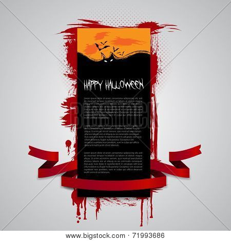 Halloween Flyer, Banner or Cover Design - Happy Halloween Card with Lots of Flying Bats in the Darkness - Vector Illustration