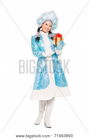 Beautiful Woman In A Suit Of Snow Maiden