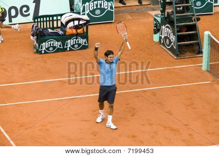Paris - June 7: Roger Federer Of Switzerland Rejoices To Win At French Open, Roland Garros, Final Ga