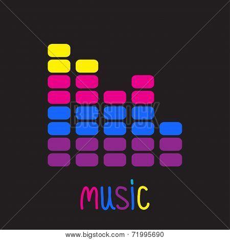Colurful Digital Equalizer. Music Card.