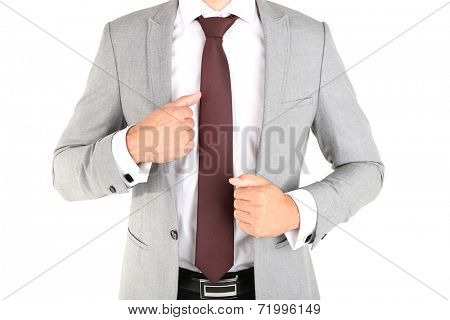 Man doing tie up isolated on white