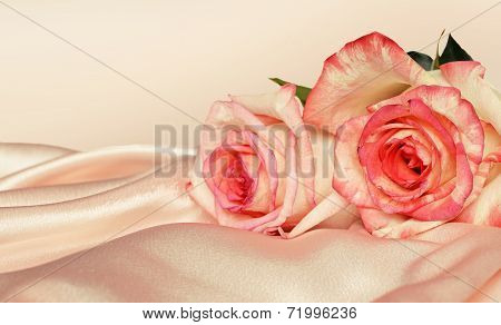 Pink Satin And Roses
