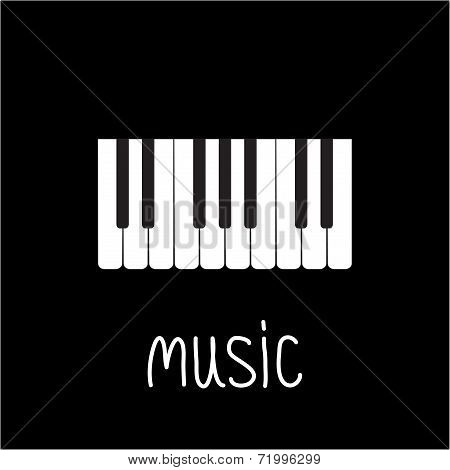 Piano Keys And White Word Music. Card