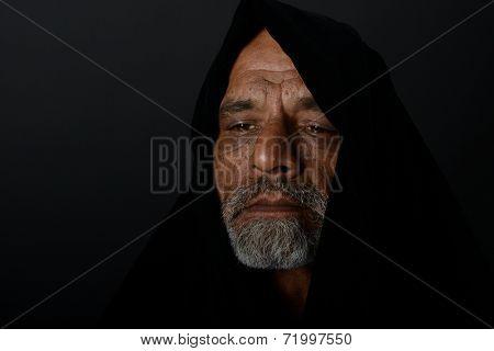 very Nice portrait of a afghan man on Black