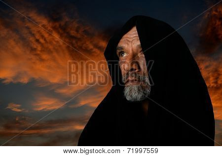 very Nice portrait of a afghan man in Black Cape