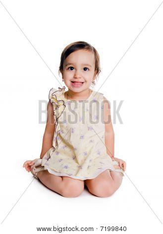 Cute Little Girl Sit On The Floor