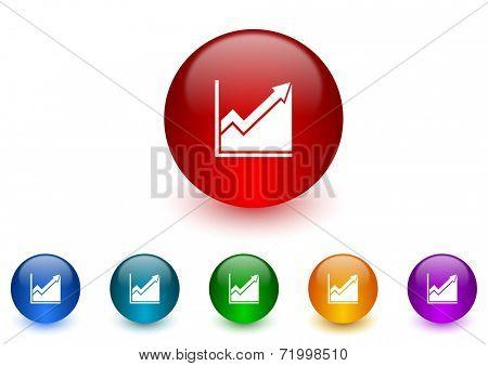 histogram internet icons colorful set