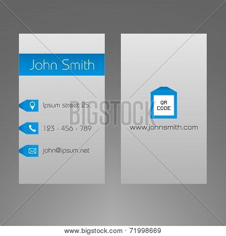 Business card template - modern light grey and blue design