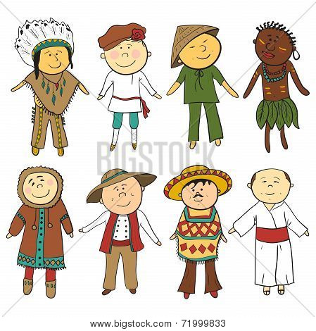 Cartoon kids in different traditional costumes