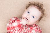 stock photo of baby cowboy  - Funny Baby Girl In A Red Plaid Shirt Sucking On Her Finger - JPG