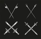 image of longsword  - Swords and longswords set for heraldry design on black background - JPG